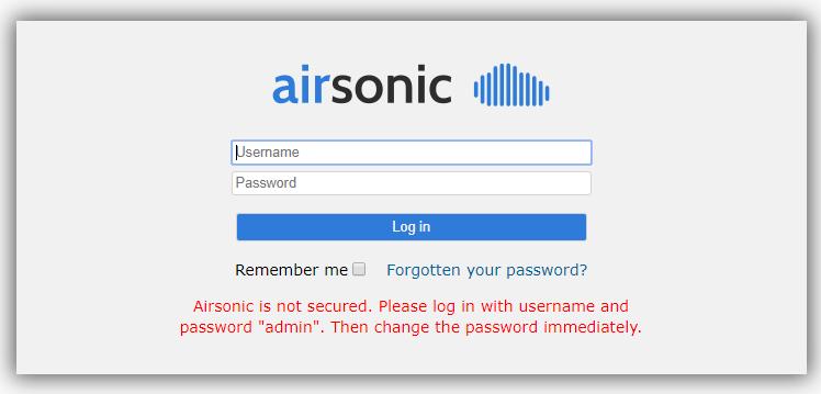 docker - airsonic homepage